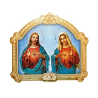 Faplakett Jézus szíve-Mária szíve